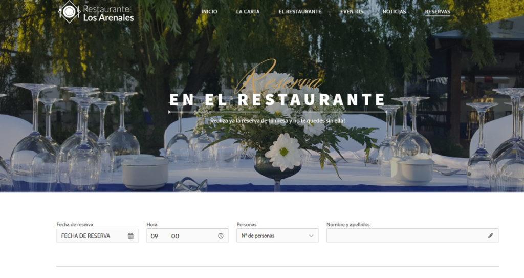 Diseño web del restaurante los arenales