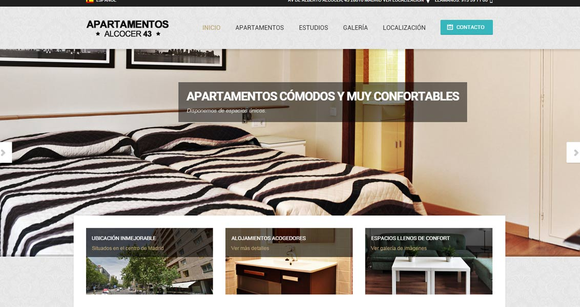 Diseño web apartamentos Alcocer