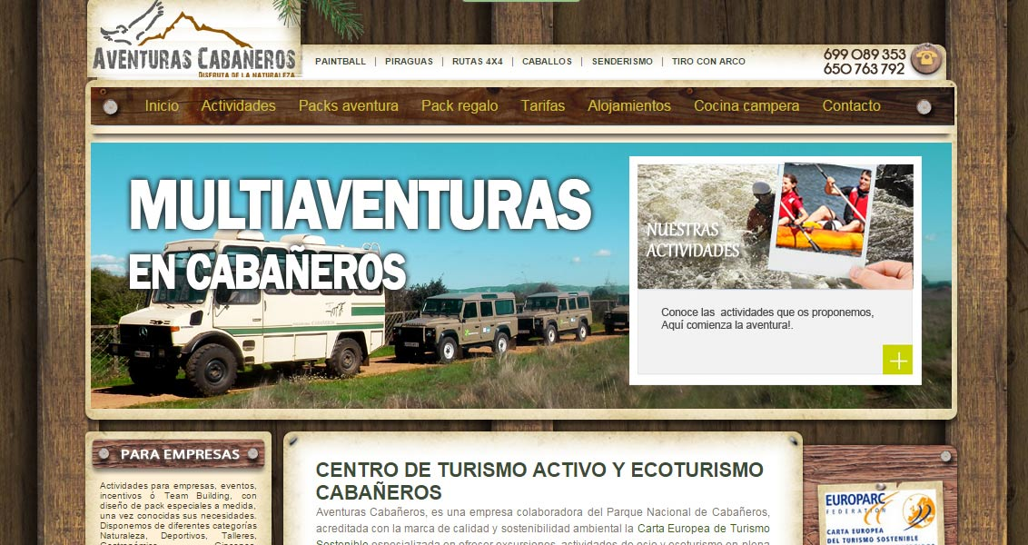 Diseño web aventuras cabañeros