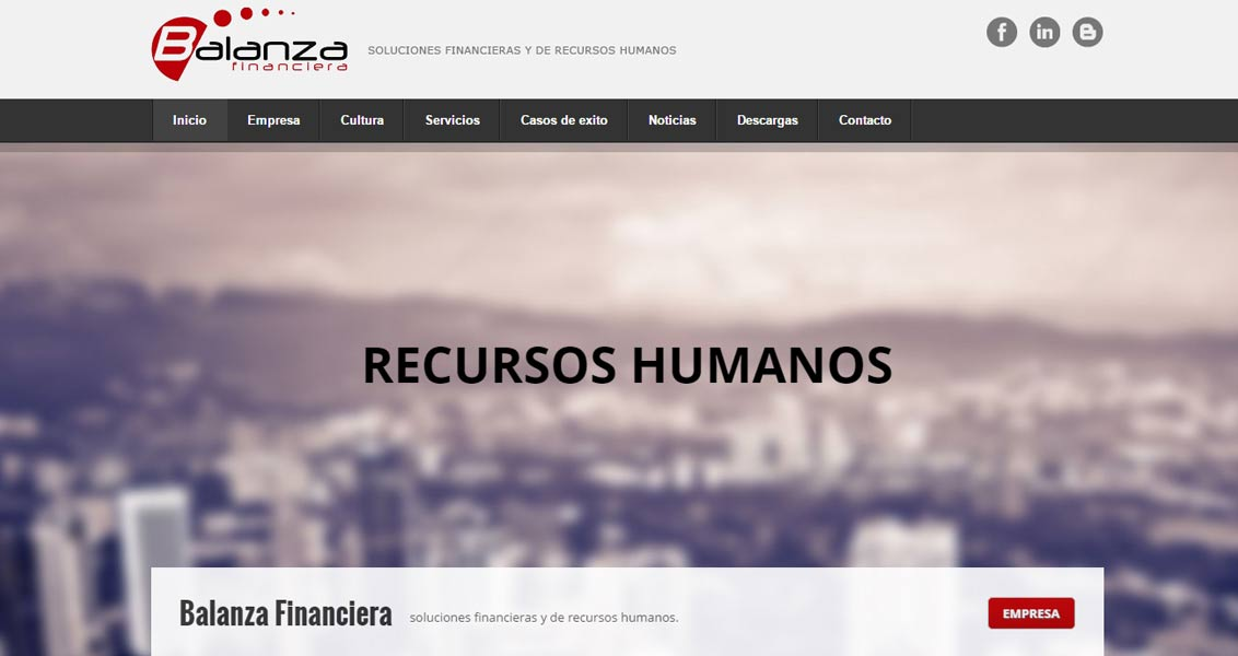 Diseño web balanza financiera