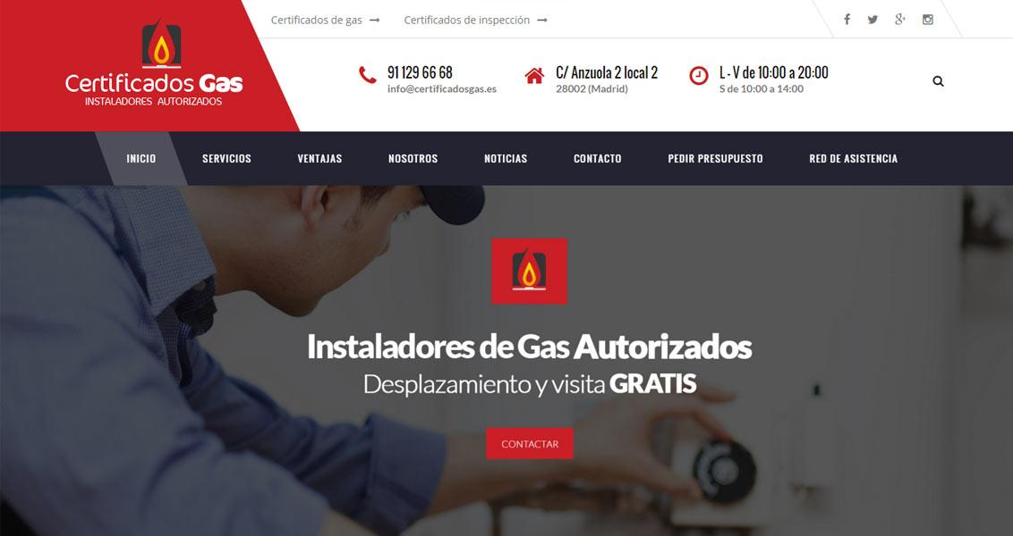 Diseño web Certificados de gas
