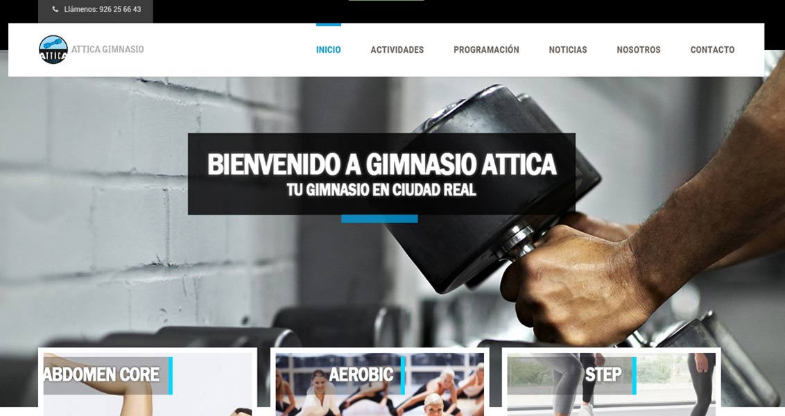Diseño web Gimnasio Attica