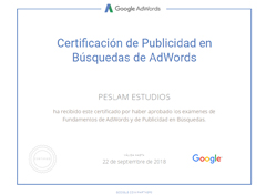 Certificacion de publicidad en busquedas de adwords