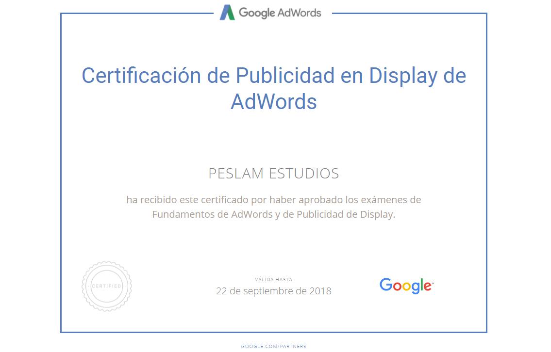 Certificado en Publicidad de Display de Adwords