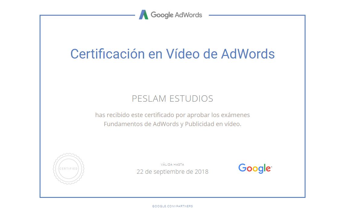Certificación en Vídeos de Adwords