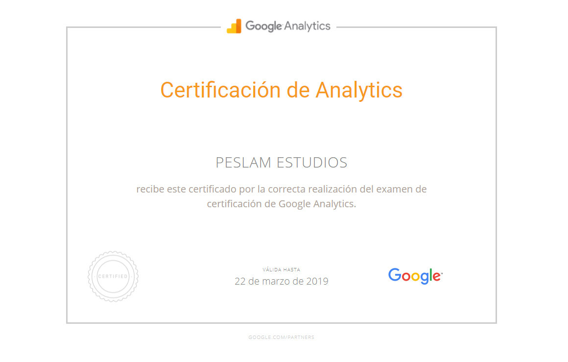 Certificación Google Analytics