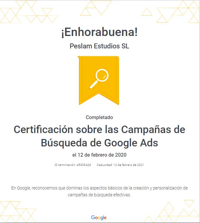 Certificado de publicidad en búsquedas de adwords