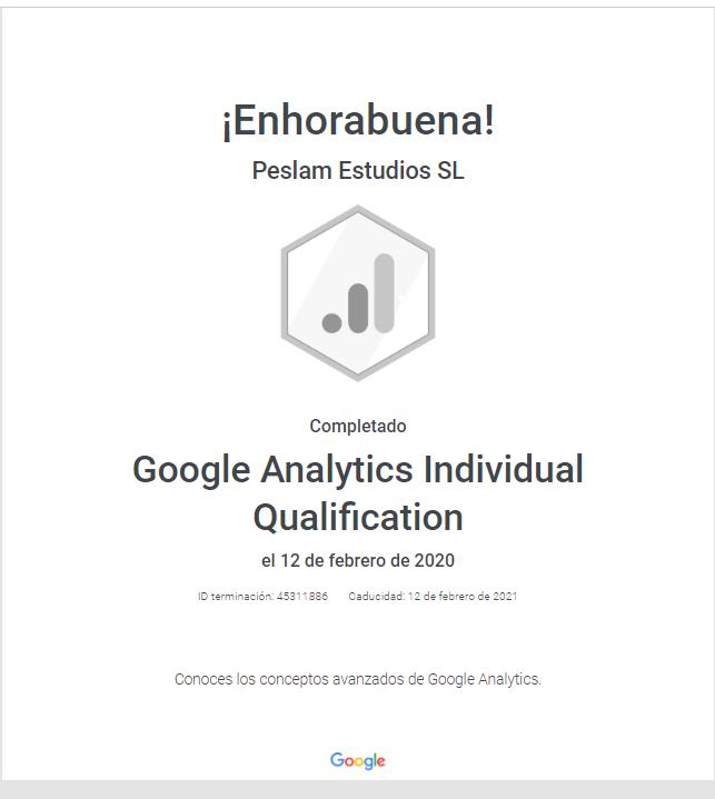Google Analytics Individual Qualification Google